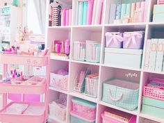 Great way to use open IKEA or other shelving for an office/craft room Study Room Decor, Cute Room Decor, Teen Room Decor, Craft Room Storage, Room Organization, Deco Cool, Pastel Room, Room Planner, Pink Planner