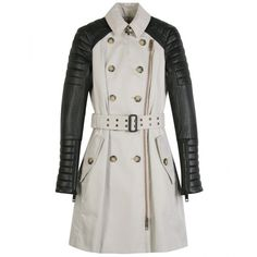 Burberry Prorsum - CLASSIC TRENCH WITHS LEATHER LEEVES - (6.300 BRL) ❤ liked on Polyvore featuring outerwear, coats, jackets, burberry, casacos, trench coats, leather trench coat, burberry trenchcoat, burberry coat and real leather coats