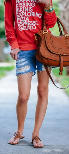 Wildfox 'Summer List' Pullover Sweatshirt | Lovers + Friends Dylan Short | Chloe Marcie - Small Leather Satchel | Tory Burch Miller Sandals in Vintage