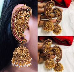 To steel the look on your Big Day, you need some E - To steel the look on your Big Day, you need some Elegant Jewellery. Indian Jewelry Earrings, Jewelry Design Earrings, Gold Earrings Designs, Gold Jewellery Design, Ear Jewelry, Antique Earrings, Bridal Jewelry, Bridal Cuff, Temple Jewellery