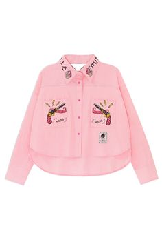 Patched Pockets High-Low Embroidered Crop Shirt