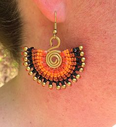 Classic Handcrafted Brass Bead Neon Waxed Cotton Spiral Ethnic Bohemian Summer Earrings by thaiwristbands on Etsy https://www.etsy.com/uk/listing/287568511/classic-handcrafted-brass-bead-neon