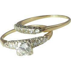 Sparkly 0.56ct G/VS1 Diamond 14kt Gold Wedding Ring Set