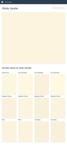 White Vanilla, Benjamin Moore. Click the image to see similiar colors by other brands.