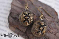 Magic Nordic Runes Polymer Clay Handmade Earrings Sign Norse Mythology Metallic Gold Silver Copper Antique by Kokowithlove on Etsy