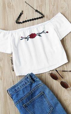 Rose Print Crop Bardot Top