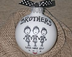 BROTHERS ORNAMENT (or cousins/friends/etc.) Wonderful personalized keepsake ornament! Three brothers are shown, but if you have more or less than that, just indicate in your personalization instructions. Please use the NOTES TO SELLER box to include the following personalization info: 1. First names 2. 2016 EACH ORNAMENTS IS... - individually hand painted with my original designs. - 2 5/8 round SHINY bulb (about the size of a tennis ball). - personalized at no additional cost. - finished…