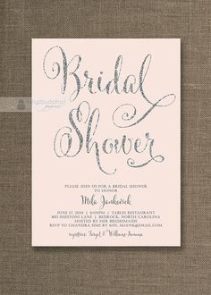 Blush Pink & Silver Glitter Bridal Shower Invitations in Silver Gray Script Available at digibuddha.com