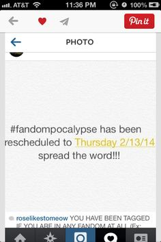 Repin on all your fandom boards! #Fandompocalypse but for Friday 2/13/15