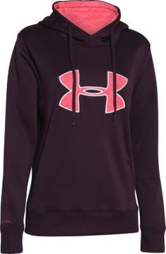 Made of Armour® Fleece that has a brushed inner layer and a smooth, quick-dry outer layer and containing the signature Moisture Transport System that wicks moisture away from your skin, this Under Armour Women's Big Logo Appliqué Hoodie provides warmth and keeps you dry. Lined two-piece hood with crossover neck adds protection from cool weather. Rolled princess seams create a slim silhouette. Streamlined kangaroo pocket.