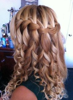 Braided waterfall with curls