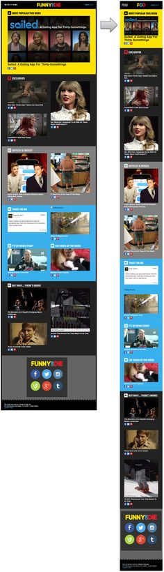 Responsive email design from Funny or Die