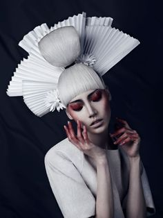 Soo Joo by Xi SinSong, black and white couture female model. Asian beauty high fashion conceptual make up
