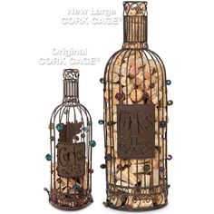 Wine Bottle Cork Cage - Bottle Cork Holder - Wine Cork Display Large Wine Bottle, Wine Bottle Corks, Cork Holder, Wine Decor, Finding A House, Cage, Display, Glass, Floor Space