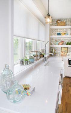 Green Apple Design- clean white kitchen #shades