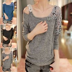 Women Sequin Lace Flower Shoulder Knitted Blouse Long Sleeve Sweater Knit