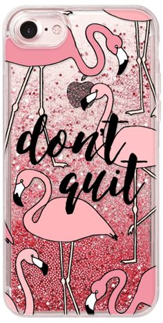 Casetify iPhone 7 Glitter Case - Don't Quit Pink Flamingos Transparent #beatcancer by Frost Design Co. #Casetify