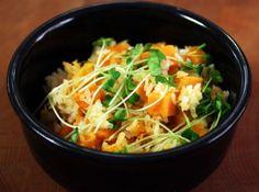 Sweet potato rice (Gogumabap) Paleo version = cauliflower rice + coconut aminos to replace rice and soy sauce.