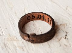 Leather ring - Super Secret Date Ring - Unisex - Inside Out Hand stamped ring - Made to Order - Any Ring Size. $15.00, via Etsy.