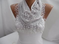LOVE!!!  Women  Light gray Cotton Scarf  Headband  Cowl with Lace by DIDUCI, $19.00