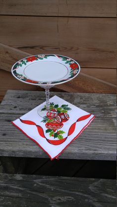 Upcycled Cake Stand-Dessert Plate--Christmas! by ToastyBarkerBoutique on Etsy