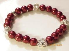 Handmade Dark Rhinestone Crystal Glass Pearl Stretch $19