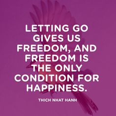 Letting go gives us freedom, and freedom is the only condition for happiness. — Thich Nhat Hanh