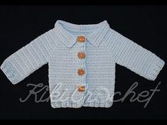Crochet Very Easy Cardigan (pt This video tutorial is the first part for a very easy, beginner friendly, childrens jacket that is being crocheted from the top- down in one piece. The chart will help you to crochet from newborn to 12 yrs old and you Crochet Toddler Sweater, Crochet Baby Jacket, Crochet Girls, Crochet Cardigan, Crochet For Kids, Easy Crochet, Free Crochet, Top Down, Baby Cardigan