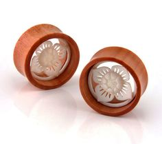 Flower Double Flare Organic Sawo Wood Floral Bone Inlay Ear Tunnel Plugs Gauges | eBay