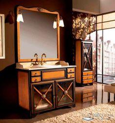 Mueble de Baño Alba de Estilo Rústico. Fabricado artesanalmente en Madera Maciza