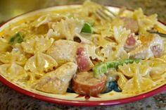 Cajun Chicken Bowtie Pasta with Smoked Sausage recipe