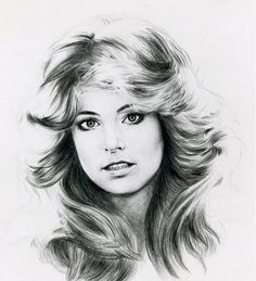 pencil drawing of Farrah