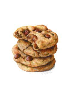 Desserts & Sweet Things on Behance Cookie Drawing, Food Drawing, Desserts Drawing, Food Art Painting, Cupcake Illustration, Sweet Drawings, Realistic Drawings, Food Sketch, Sketch Pad