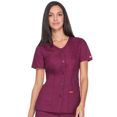 A Modern Classic fit V-neck top features a five-button closure and patch pockets. Nurse Scrubs, Scrub Tops, Caregiver, V Neck Tops, Soho, Medical, Buttons, Nice, Jackets