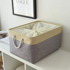 Amazon.com: TheWarmHome Decorative Basket Rectangular Fabric Storage Bin Organizer Basket with Handles for Clothes Storage (Grey Patchwork, 15.7L×11.8W×8.3H): Gateway Fabric Storage Bins, Clothes Storage, Storage Baskets, Storage Chest, Small Storage, Jewelry Studio Space, Basket Decoration, Beige, Grey