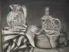This is amazing. The effect of transparency and the highlights in the glass are scarily realistic. You can see the difference in texture from the glass and the other objects, as well.   Melissa Richtarik