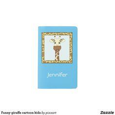 Funny giraffe cartoon kids pocket moleskine notebook