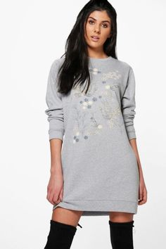 Printed Long Sleeve Sweat Dress. | dresslover.co.uk