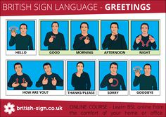 Wouldn't it be great if everyone knew these British Sign Language signs. Print them here: http://www.british-sign.co.uk/bsl-british-sign-language/british-sign-language-bsl-greetings/ #BSL #BritishSignLanguage