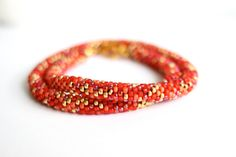 Red and gold beaded necklace, bead crochet rope by BibaStore on Etsy Rope Necklace, Beaded Necklace, Bead Crochet Rope, Gold Beads, My Etsy Shop, Handmade Items, Boho, Store, Red