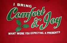 Bring Comfort Joy Red Christmas Shirt Men XXL Holly Present Holiday Humor Funny