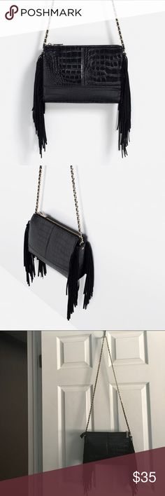 Zara printed fringe crossbody bag In perfect condition. Impulse buy I have too many bags 😫 NO TRADES. Zara Bags