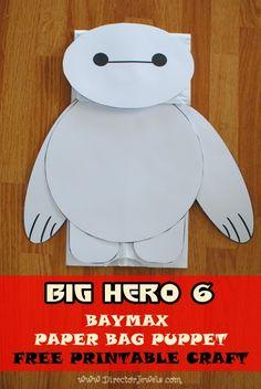 Disney Big Hero 6 Baymax Easy DIY Preschool Toddler Craft Paper Bag Puppet Tutorial #BigHero6Release #ad