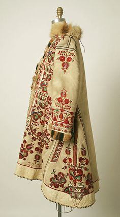 Coat Date: 1900 Culture: Romanian Medium: Leather Hungarian Embroidery, Folk Embroidery, Embroidery Ideas, Embroidery Stitches, Historical Costume, Historical Clothing, Folklore, Costume Ethnique, Vintage Outfits
