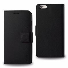 Reiko Wallet Case 3 In 1 For Iphone6/ 6S Plus 5.5Inch Black With Interior Leather-Like Material And Polymer Cover
