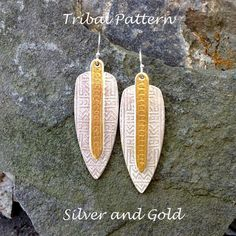 Tribal Shield Silver and Gold Earrings by LindaMackSilver on Etsy, $140.00