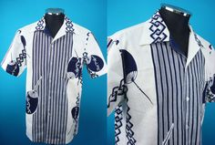 1960's retro cotton Kimono Hawaiian shirt, yukata fabric, Men, US size L, Japanese size XL by PriscillaTokyo on Etsy