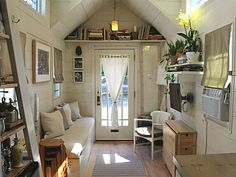 """This modern farmhouse tiny home, the """"Tiny Hall House"""" is a tiny house on wheels, built by its owners, based in Massachusetts! This tiny house is House Design, Tiny Spaces, Small Spaces, Home, Hall House, House Built, House Interior, Tiny House Interior Design, Little Houses"""