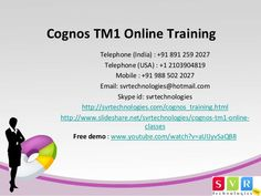 Cognos TM1 Online Training at SVR Technologies provides value to its clients in the form of pointed, cost-effective. Please visit our official site http://svrtechnologies.com/cognos_training.html We are also offer other IT courses, for complete courses list http://svrtechnologies.com/ http://www.slideshare.net/svrtechnologies/cognos-tm1-online-training-40707999