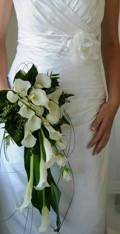 Green & White Cascading Bridal Bouquet: White Calla Lilies, White Roses, Green Fern, Green Lily Grass & Tropical Green Foliage